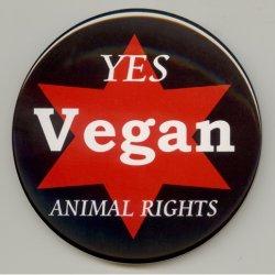 画像2: 缶バッジピンタイプ=中(56mm)=「YES Vegan ANIMAL RIGHTS 赤星_背景黒」