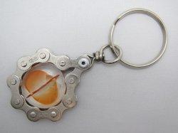自転車チェーン キーホルダー ガラス平マーブル オレンジ